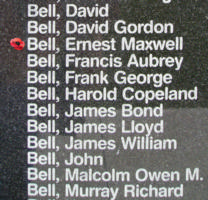 Memorial– Flight Sergeant Navigator (Bomber) Ernest Maxwell Bell is also commemorated on the Bomber Command Memorial Wall in Nanton, AB … photo courtesy of Marg Liessens