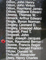 Memorial– Flight Sergeant Raymond Bernard Dion is also commemorated on the Bomber Command Memorial Wall in Nanton, AB … photo courtesy of Marg Liessens
