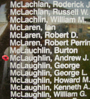 Memorial– Pilot Officer Andrew Joseph McLaughlin is also commemorated on the Bomber Command Memorial Wall in Nanton, AB … photo courtesy of Marg Liessens