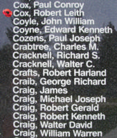 Memorial– Warrant Officer Class II Robert Leith Cox is also commemorated on the Bomber Command Memorial Wall in Nanton, AB … photo courtesy of Marg Liessens