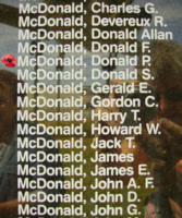 Memorial– Pilot Officer Donald Patrick McDonald is also commemorated on the Bomber Command Memorial Wall in Nanton, AB … photo courtesy of Marg Liessens