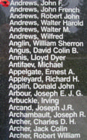 Memorial– Pilot Officer John Frederick Edward Andrews is also commemorated on the Bomber Command Memorial Wall in Nanton, AB … photo courtesy of Marg Liessens