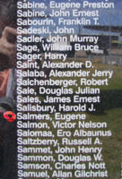 Memorial– Flight Sergeant Eugene Salmers is also commemorated on the Bomber Command Memorial Wall in Nanton, AB … photo courtesy of Marg Liessens