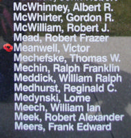 Memorial– Flight Sergeant Victor Meanwell is also commemorated on the Bomber Command Memorial Wall in Nanton, AB … photo courtesy of Marg Liessens
