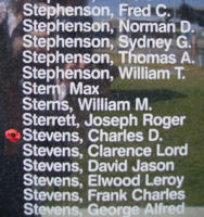 Memorial– Pilot Officer Charles Douglas Stevens is also commemorated on the Bomber Command Memorial Wall in Nanton, AB … photo courtesy of Marg Liessens