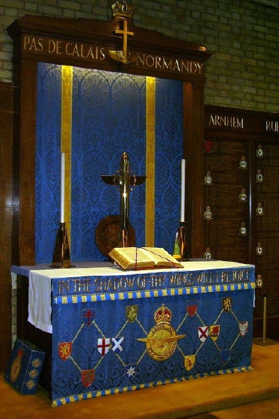 Memorial– Pilot Officer Kirkpatrick Maclure Sclanders is also commemorated at St George's Royal Air Force Chapel of Remembrance - Biggin Hill … the Altar … Photo courtesy of Marg Liessens