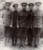 Group Photo– Men from Clarenville who served in the First World War. left to right: William Noseworthy, Kenneth Driscoll, Goliath Bursey, Ralph Balsom, Alonzo Adey. William Noseworthy was the only person that survived.