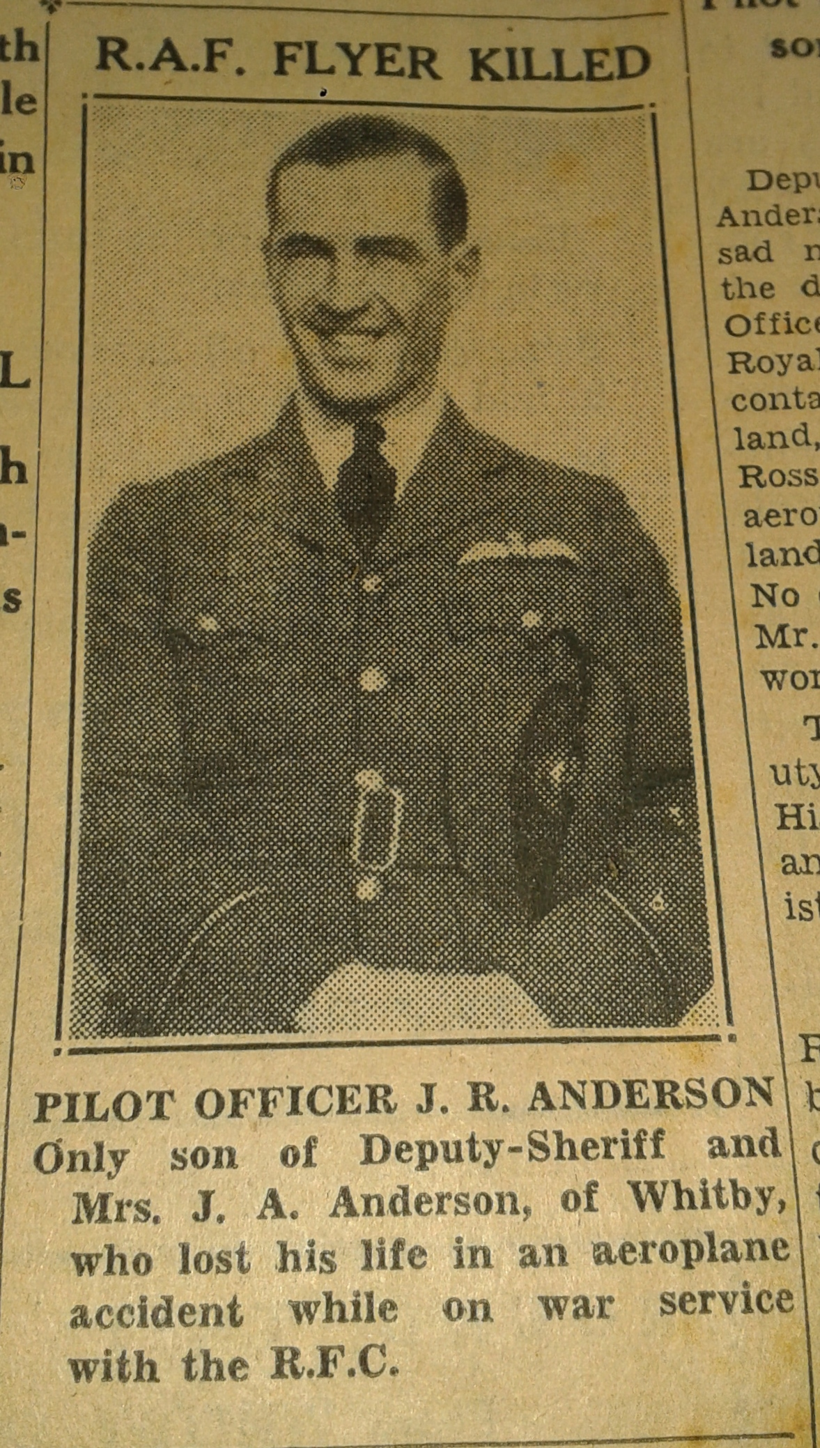 Newspaper Clipping– SOURCE: Whitby Gazette and Chronicle - 25 Oct 1939