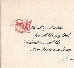 Christmas Card– Christmas card, Frank Belcourt