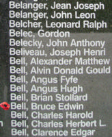Memorial– Flight Sergeant Bruce Edwin Bell is also commemorated on the Bomber Command Memorial Wall in Nanton, AB … photo courtesy of Marg Liessens