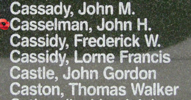 Memorial– Sergeant John Halifax Casselman is also commemorated on the Bomber Command Memorial Wall in Nanton, AB … photo courtesy of Marg Liessens