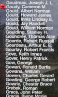 Memorial– Flight Sergeant Cameron Mckenzie Goudy is also commemorated on the Bomber Command Memorial Wall in Nanton, AB … photo courtesy of Marg Liessens