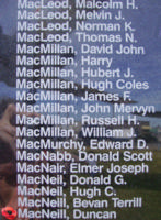 Memorial– Flying Officer Duncan MacNeill is also commemorated on the Bomber Command Memorial Wall in Nanton, AB … photo courtesy of Marg Liessens