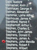 Memorial– Sergeant John Melville Stephens is also commemorated on the Bomber Command Memorial Wall in Nanton, AB … photo courtesy of Marg Liessens