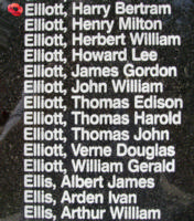 Memorial– Flying Officer Harry Bertram Elliott is also commemorated on the Bomber Command Memorial Wall in Nanton, AB … photo courtesy of Marg Liessens