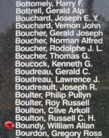Memorial– Flight Sergeant William Allan Boundy is also commemorated on the Bomber Command Memorial Wall in Nanton, AB … photo courtesy of Marg Liessens