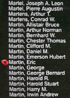 Memorial– Flying Officer Eric Martin is also commemorated on the Bomber Command Memorial Wall in Nanton, AB … photo courtesy of Marg Liessens