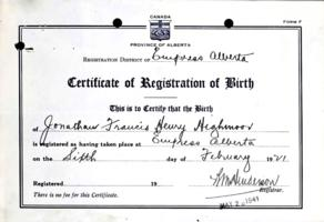 Registration of birth– Submitted for the project, Operation Picture Me