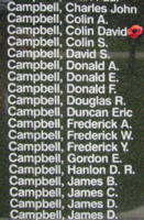 Memorial– Sergeant Colin David Evander Campbell is also commemorated on the Bomber Command Memorial Wall in Nanton, AB … photo courtesy of Marg Liessens