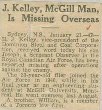 Press Clipping– Flight Sergeant Henry Joseph Kelley obit Montreal Gazette Jan 22 1942 courtesy McGill University archives