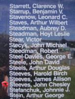 Mémorial – Sergent John Chesley Steeves est aussi commémoré sur le Monument commémoratif de Bomber Command à Nanton, en Alberta. Photo offerte par Marg Liessens.