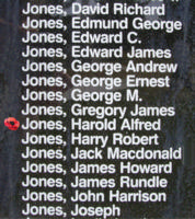 Memorial– Flying Officer Harold Alfred Jones is also commemorated on the Bomber Command Memorial Wall in Nanton, AB … photo courtesy of Marg Liessens
