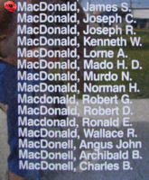 Memorial– Warrant Officer Class I James Stewart MacDonald is also commemorated on the Bomber Command Memorial Wall in Nanton, AB … photo courtesy of Marg Liessens
