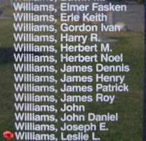 Memorial– Pilot Officer Leslie Llewellyn Williams is also commemorated on the Bomber Command Memorial Wall in Nanton, AB … photo courtesy of Marg Liessens