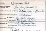 Document– F/Lt Douglas' school registration card 1938.  The writing is his.  The comments on the bottom are from the office staff at Lawrence Park Collegiate in Toronto on news of his death.  It was only recently they learned of the reason for his death.