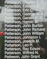 Memorial– Pilot Officer John William Lyle Patterson is also commemorated on the Bomber Command Memorial Wall in Nanton, AB … photo courtesy of Marg Liessens