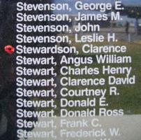 Memorial– Flight Sergeant Clarence Cecil Stewardson is commemorated on the Bomber Command Memorial Wall in Nanton, AB … photo courtesy of Marg Liessens