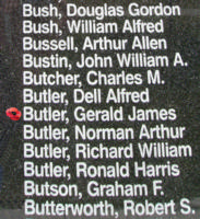 Memorial– Flying Officer Gerald James Butler is also commemorated on the Bomber Command Memorial Wall in Nanton, AB … photo courtesy of Marg Liessens