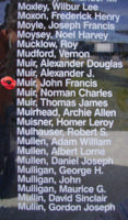 Memorial– Flying Officer John Francis Muir is also commemorated on the Bomber Command Memorial Wall in Nanton, AB … photo courtesy of Marg Liessens