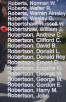 Memorial– Sergeant William John Robertshaw is also commemorated on the Bomber Command Memorial Wall in Nanton, AB … photo courtesy of Marg Liessens