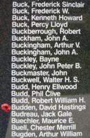 Memorial– Sergeant David Hastings Budden is also commemorated on the Bomber Command Memorial Wall in Nanton, AB … photo courtesy of Marg Liessens