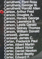 Memorial– Pilot Officer Arthur Frederick Copithorne Carson is also commemorated on the Bomber Command Memorial Wall in Nanton, AB … photo courtesy of Marg Liessens