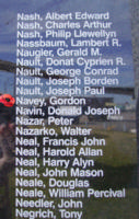 Memorial– Sergeant Gordon Navey is also commemorated on the Bomber Command Memorial Wall in Nanton, AB … photo courtesy of Marg Liessens