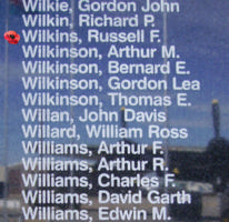 Memorial– Sergeant Russell Frederick Wilkins is also commemorated on the Bomber Command Memorial Wall in Nanton, AB … photo courtesy of Marg Liessens