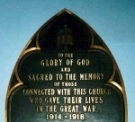 Memorial Plaque– Memorial plaque in St. James Presbyterian Church, Charlottetown, Prince Edward Island.