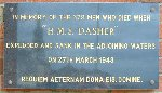 Memorial Plaque– Memorial plaque to HMS Dasher, located at The Church of Saint Peter in Chains, Ardrossan, Scotland; the plaque is mounted on the church's sea-facing wall.