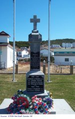 """Monument– """"Monument in Winterton, Newfoundland where Edgar is  commemorated."""""""