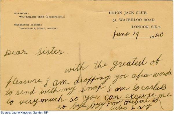 Back side of postcard mailed on June 19, 1940
