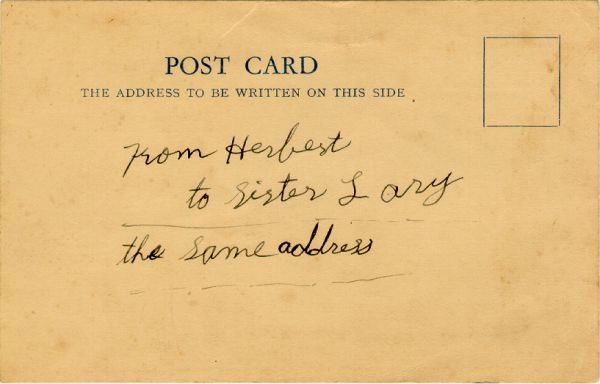 2nd post card that Herbert sent to his sister
