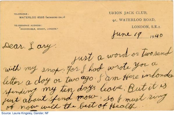 Back side of 2nd postcard mailed on June 19, 1940