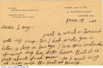 Back side of 2nd postcard mailed on June 19, 1940– Dear Lary, Just a word or two send with my snap for I had wrote you a letter a day or two ago.  I am here in London spending my ten days leave.  But it is almost spend now.  So I must ring off now, with the best of health.