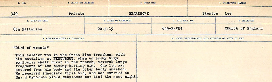 Circumstances of Death– Source: Library and Archives Canada.  CIRCUMSTANCES OF DEATH REGISTERS FIRST WORLD WAR Surnames:  Bea to Belisle  Mircoform Sequence 7; Volume Number 31829_B016717. Reference RG150, 1992-93/314, 151.  Page 107 of 724.