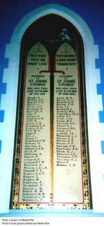 Memorial Tablet– Pte. Cyril Monsarrat Thompson's name is included on this memorial tablet in St. John's Anglican Church on 288 Humberside Avenue in West Toronto.