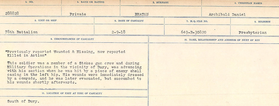 Circumstances of Death– Source: Library and Archives Canada.  CIRCUMSTANCES OF DEATH REGISTERS FIRST WORLD WAR Surnames:  Bea to Belisle. Mircoform Sequence 7; Volume Number 31829_B016717. Reference RG150, 1992-93/314, 153.  Page 153 of 724.