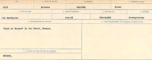 Circumstances of death registers– Source: Library and Archives Canada. CIRCUMSTANCES OF DEATH REGISTERS, FIRST WORLD WAR Surnames: Dack to Dabate. Microform Sequence 26; Volume Number 31829_B016735. Reference RG150, 1992-93/314, 170. Page 237 of 1140. After the Armistice his body was exhumed from Ronville British Cemetery, Arras and re-interred in BEAURAINS ROAD CEMETERY.