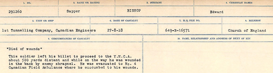 Circumstances of Death Registers– Source: Library and Archives Canada.  CIRCUMSTANCES OF DEATH REGISTERS FIRST WORLD WAR Surnames: Birch to Blakstad. Mircoform Sequence 10; Volume Number 31829_B034746; Reference RG150, 1992-93/314, 154 Page 183 of 734